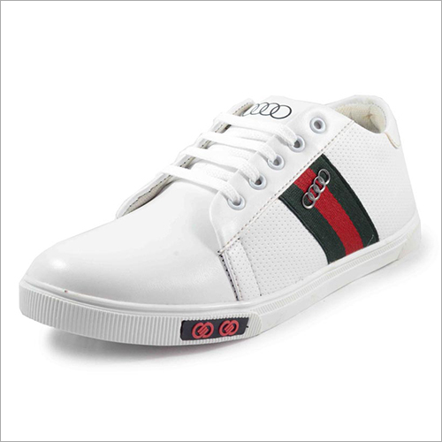 Mens Leather White Sneaker Shoes