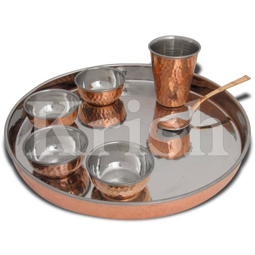 Dinner set - Copper Hammered - 7 Pcs