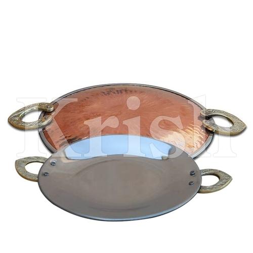 Round Serving Platter - Copper Hammered