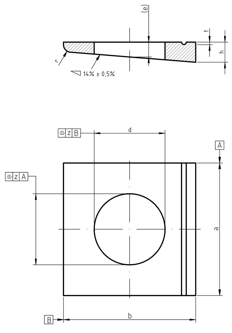 DIN 435 Square taper washers for I sections