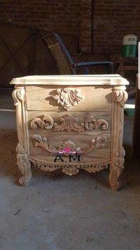 carved teaak wood bed side table