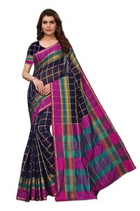 chokda checks cotton silk saree