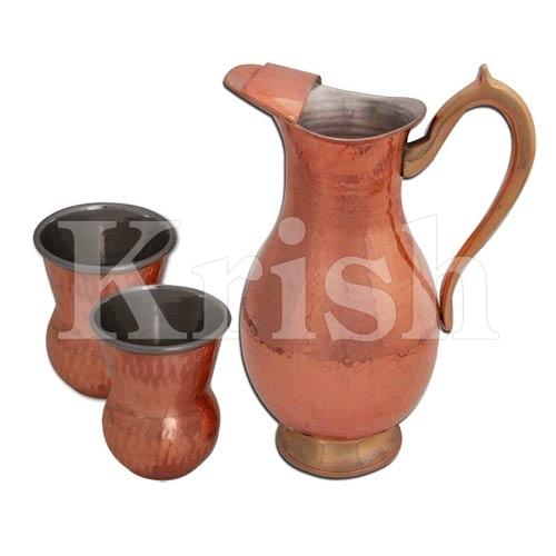 Mughal Jug & Tumber - copper Hammered -3 Pcs
