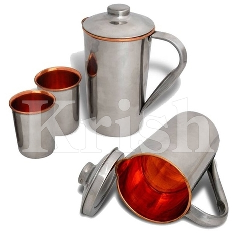 Jug & tumbler - Copper Hammered - 3 Pcs