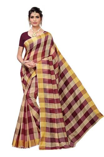 makkan checks chanderi cotton saree