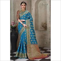 Skyblue cotton silk saree