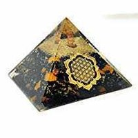 New Orgone Black Tourmaline With Golden Ston With Flower Of Life Logo Pyramid