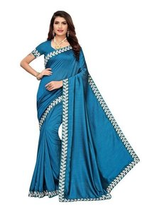 vichitra embroidery saree with attached blouse