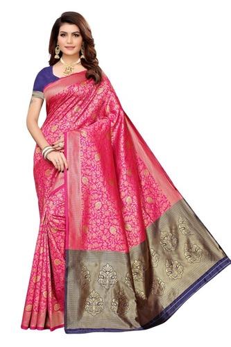 women s jocqurd work saree with blouse