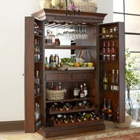 handcrafted wooden bar cabinet