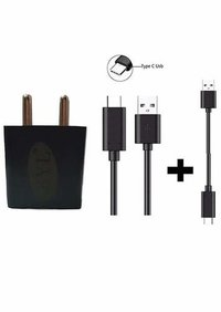 2 Ampere Mobile Charger Adapter with 1 Meter USB C Type Fast Charging Data Cable and Turbo Cable