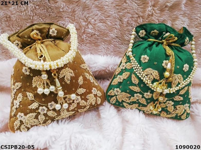 Embroidered ethnic potli bag