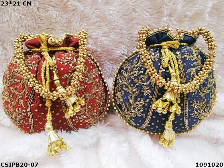 Designer gold embroidered potli bag