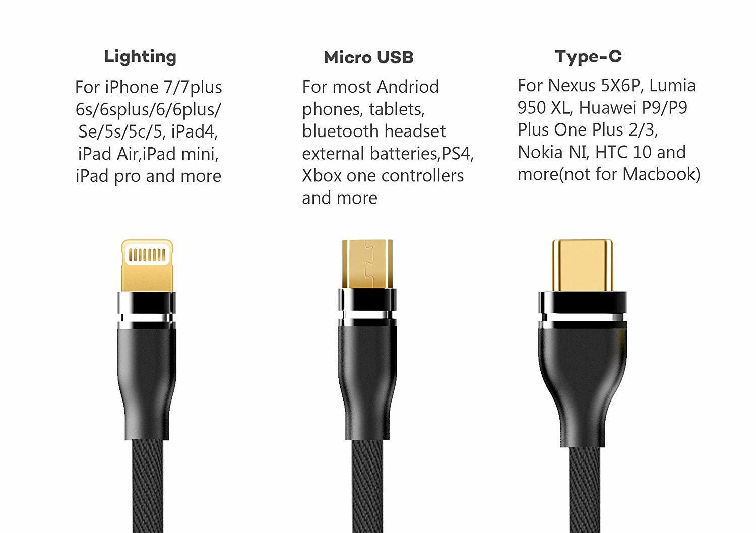 3-in-1 Tough Braided Cable with Fast Charging