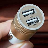 Dual Port USB Car Charger for Mobile and Tablets with 3 in 1 Cable