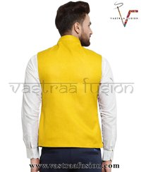 Men Plain Party Wear Galabandh Jacket - Yellow Colour