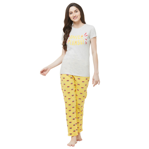 Evolove Womens Printed Pajama T Shirt Sets (EVO27)