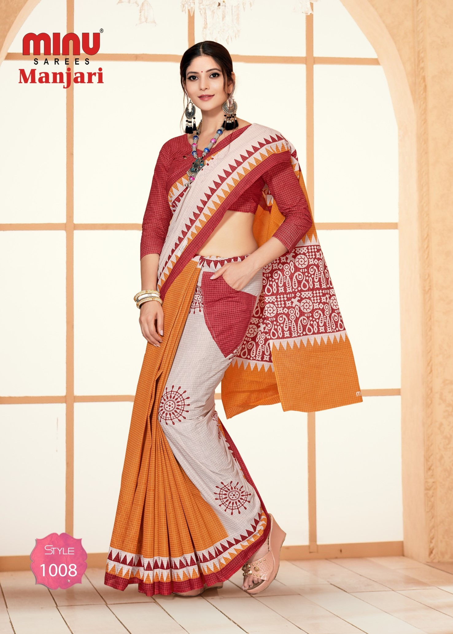Minu Manjari Malai Cotton Pocket Saree