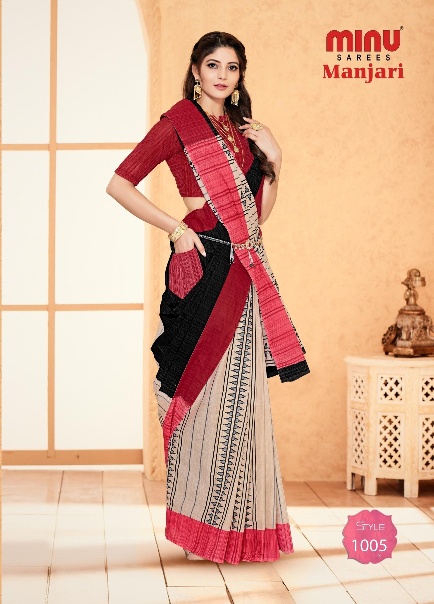 Minu Manjari Malai Cotton Pocket Saree