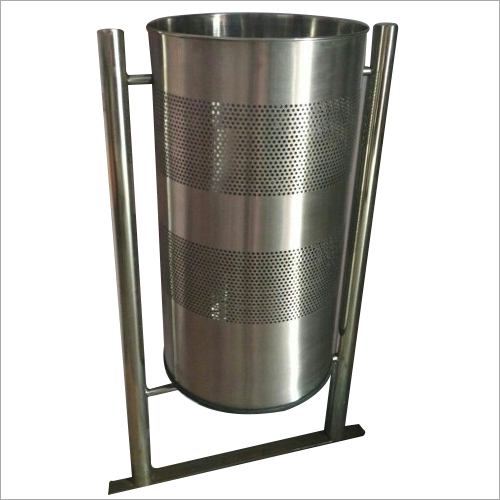 Stainless Steel Pole Mounted Stand Bin