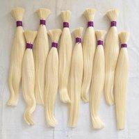 Blonde Unstiched Bulk hair,613 blonde straight human hair