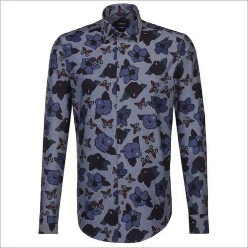 Mens Floral Print Full Sleeve Shirt