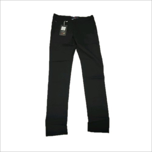 Mens Black Cotton Trouser