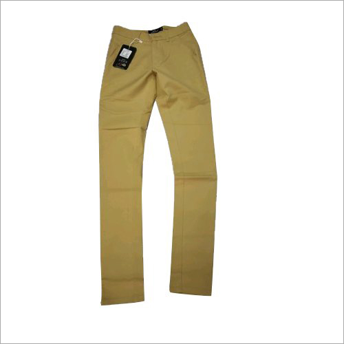 Mens Yellow Cotton Trouser