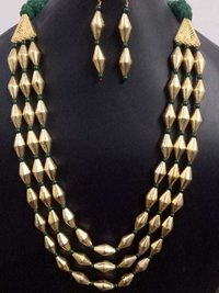 Exclusive Golden Triple Layer Dholki Mala Set