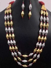 Beautiful Triple Layer Dual Tone Dholki Mala Set