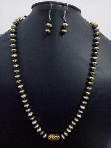 Antique Single layer dual tone brass beads mala set
