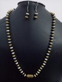 Antique Single layer dual tone brass beads mala set