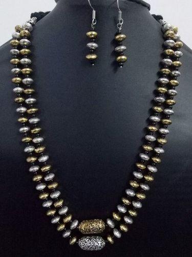 Antique Jaipuri Double Layer Dual Tone Brass Beads Mala Set