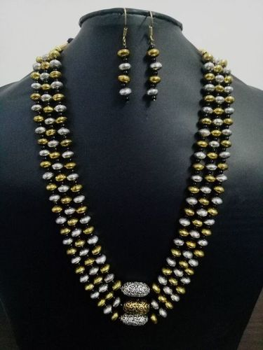 Antique Dual Tone Triple Layer Long Mala Set