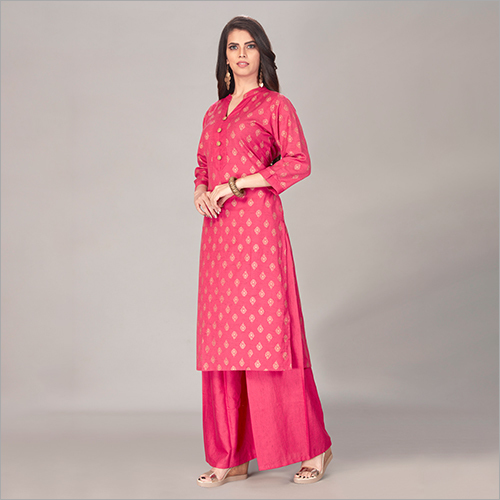 Beautiful Pink Printed Kurta with Palazzo