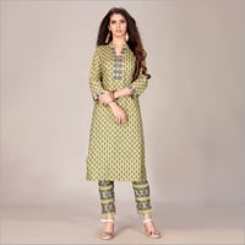 Beautiful Green Printed Rayon Kurta With Pant Set