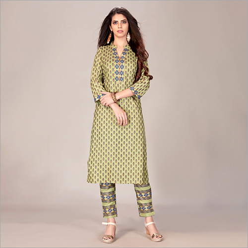 Beautiful Green Printed Rayon Kurta With Pant Set