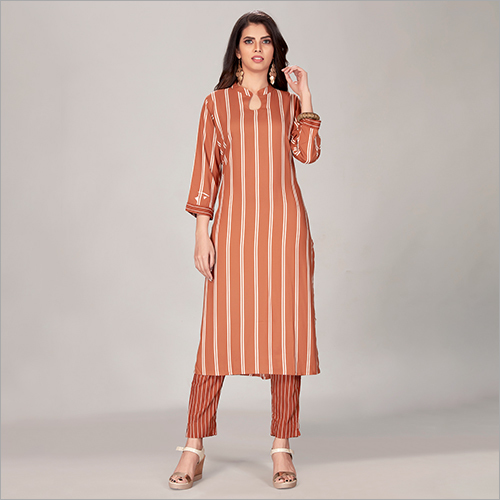 Rayon Striped Kurti Pant Suit