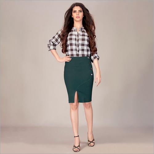 High Waist Slit Cut Green Skirt