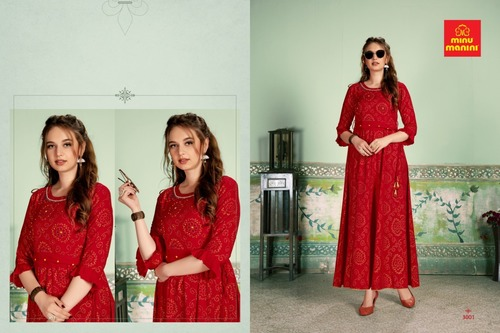 Minu Manini Cotton Bandhej Pattern Long Kurti