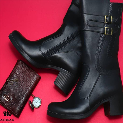 Ladies Black Leather High Boots