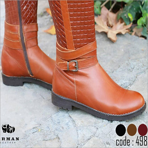 Ladies Natural Tan Leather High Boots