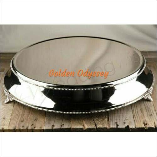 Round SS Crystal Mirror Cake Stand