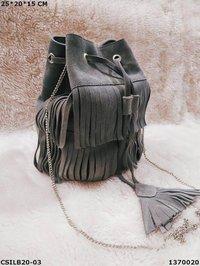 Genuine Suede Leather Bucket Bag