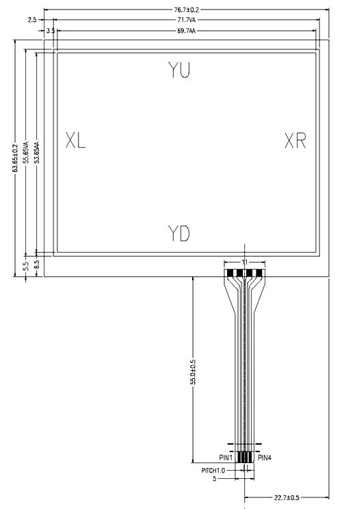 3.5 Inch 4 Wire Resistive Touch Screen