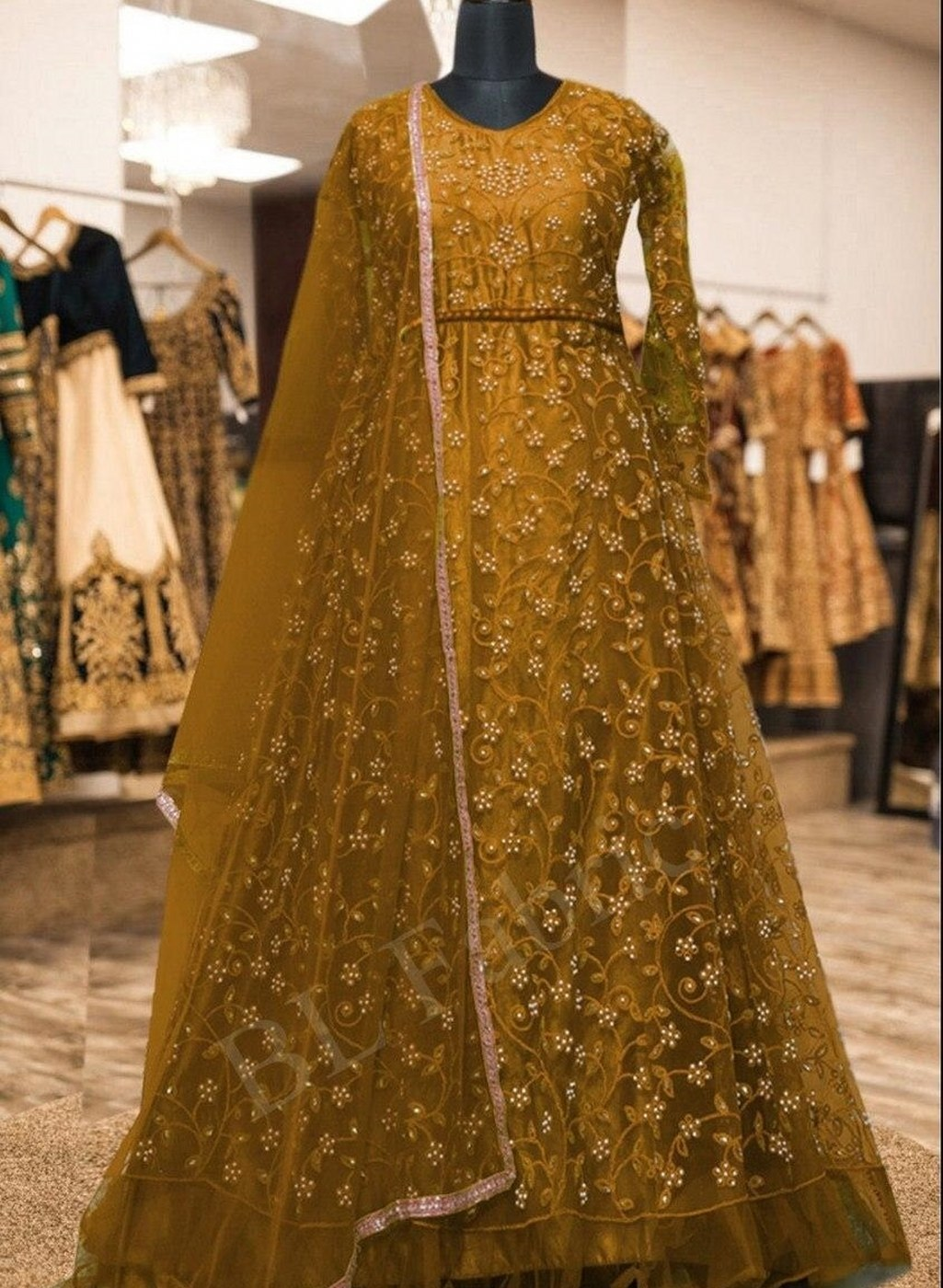 Heavy Net and Embroidered Gown