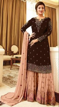 Faux Georgette Fabricated Embroidered Gown for This Wedding Season