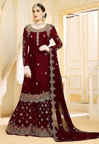 Heavy Embroidery Faux Georgette Fabricted Gowm for Women