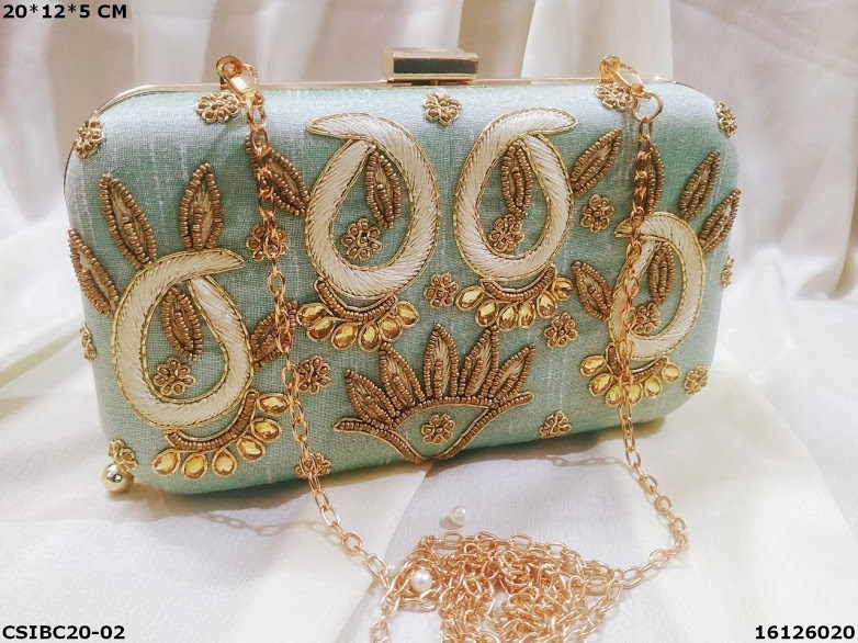 Hand Embroidered Box Clutches