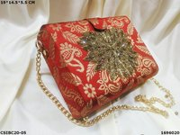 Silk embroidered evening box clutch